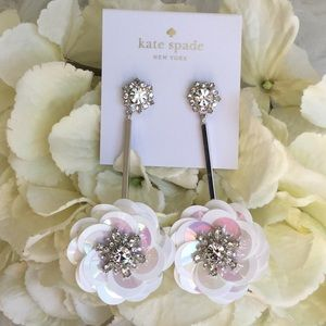 Kate Spade White Sequin Drop Earrings NWT